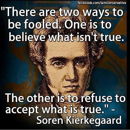 """There are two ways to be fooled. One is to believe what isn't true. The other is to refuse to accept what is true."" Kiekagaard - America Rising BLUE"