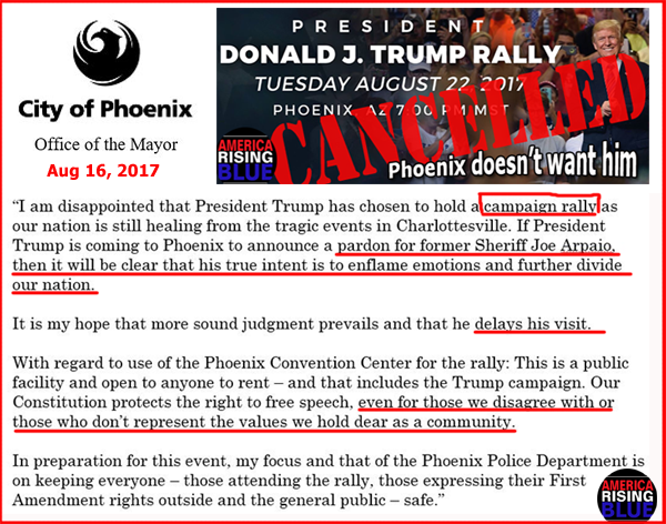 Phoenix TrumpTrain Campaign Rally Cancelled