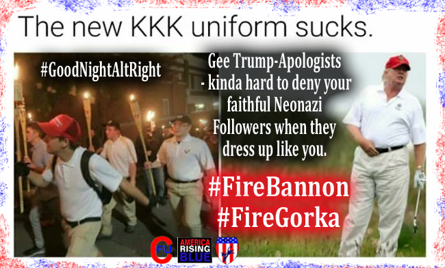 Neonazis march on University of Virginia #Charlottesvile Aug 11, 2017. Note the Trump KKK Uniform.