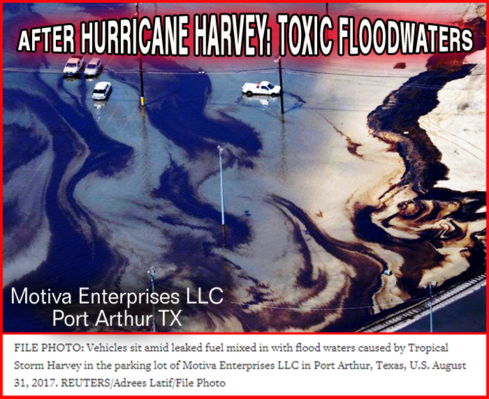 An environmental disaster roils in the floodwaters filling Houston neighborhoods, schools, businesses. Toxic materials, hazardous waste, chemicals & pathogens too nasty to name swarm in water too easily going stagnant.