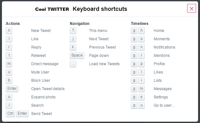Twitter keyboard shortcuts