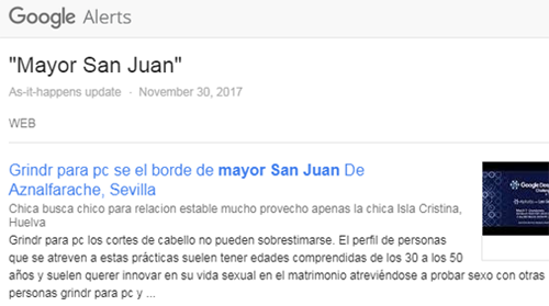 "Google Alert ""Mayor San Juan"" links to porography websites in effort to online shame / troll her ahead of elections 2018."