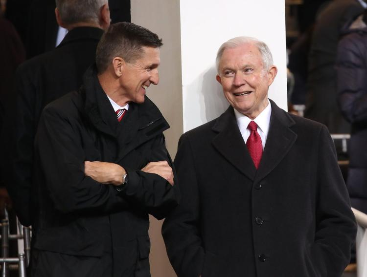 "General Flynn & Jeff Sessions Laughing for last time as Special Prosecutor Mueller charges Flynn with 1 felony count ""Lying to the FBI"". It appears Jeff Sessions is next? America Rising"