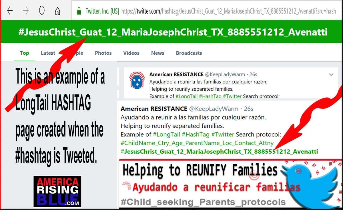 America Rising BLUE - Helping to reunite children with their parents. Twitter LongTail HashTag Search Strings