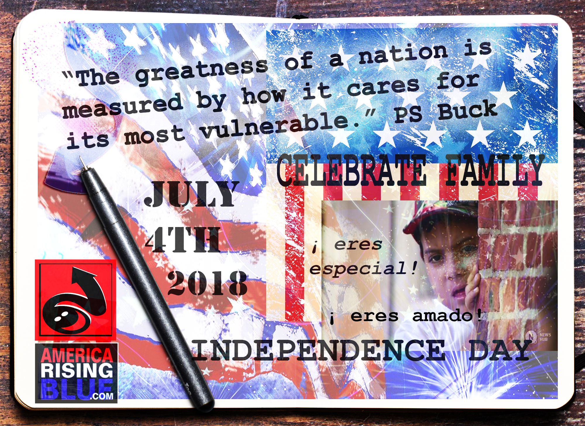 America Rising Blue Independence Day, July 4, 2018